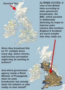 BBC map of the UK overlaid on to a standard scale map