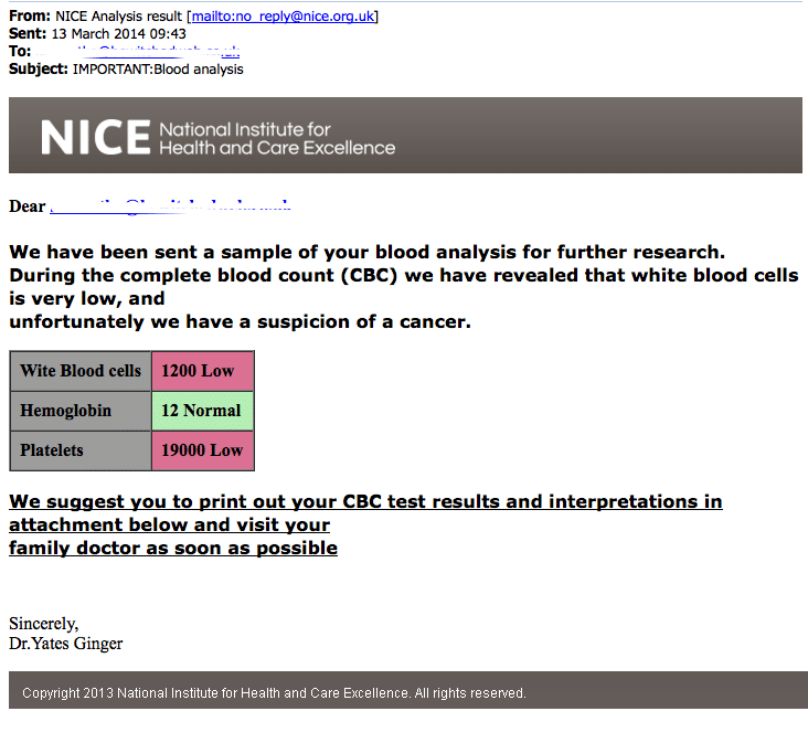 Spam E-mail reporting suspission of cancer after blood tests