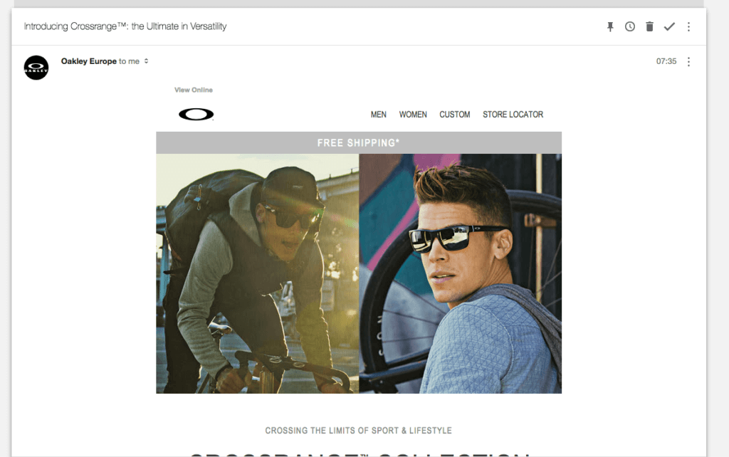 Oakley spam marketing email received on 21 March