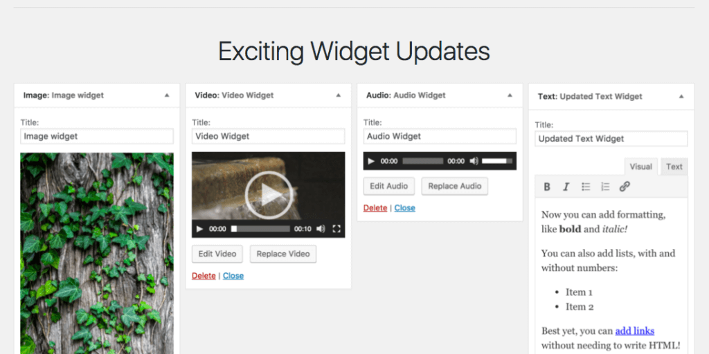 WordPress 4.8 new widgets